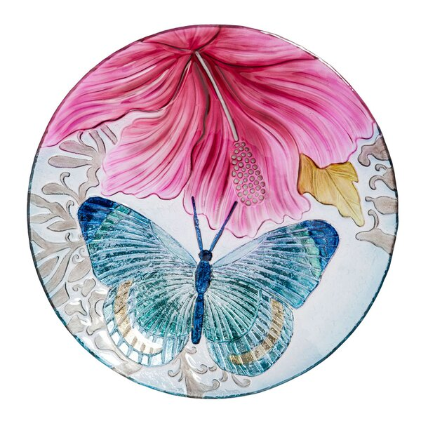 Butterfly Dance with Hibiscus Birdbath by Evergreen Enterprises, Inc