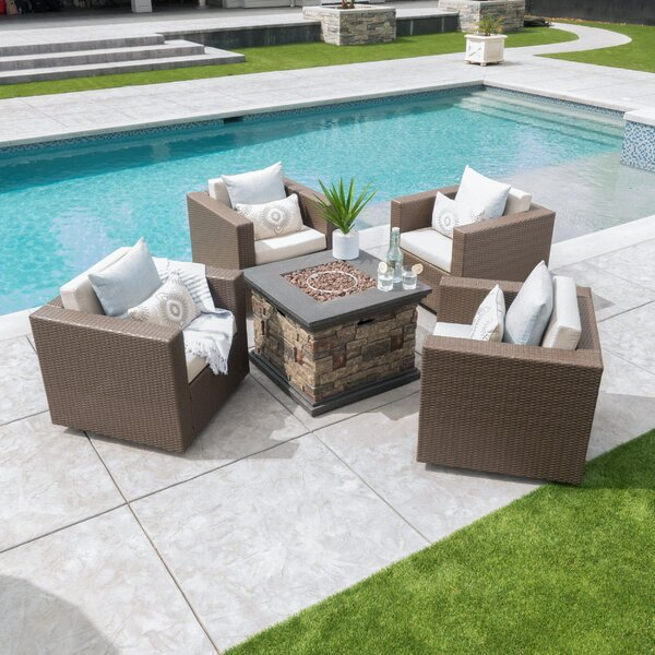 Furst 5 Piece Seating Group with Cushions by Wade Logan Wade Logan