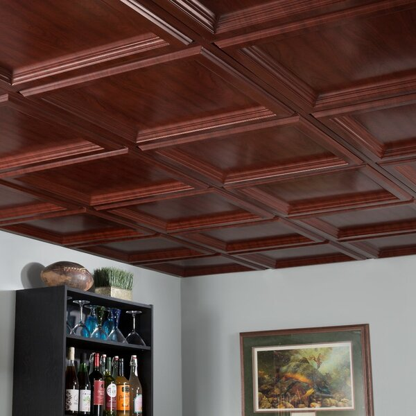 Coffer 2 Ft X 2 Ft Drop In Ceiling Tile In Cherry By Fasade.
