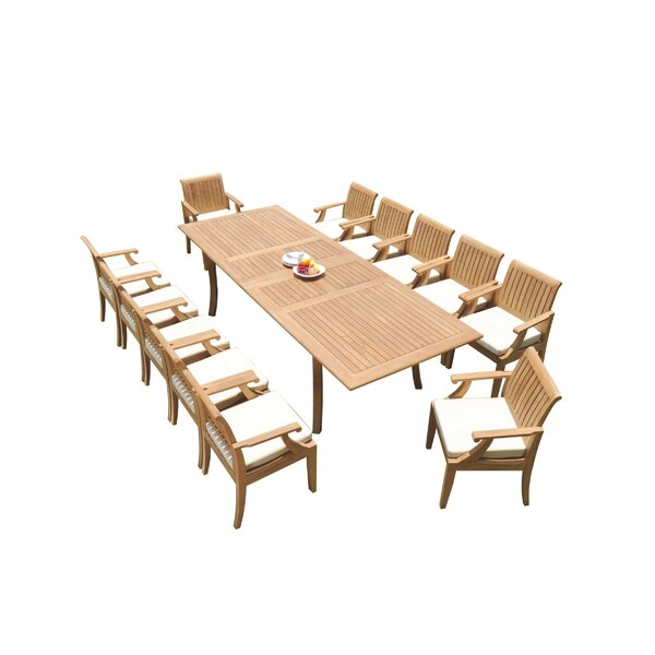 Jauss 13 Piece Teak Dining Set by Rosecliff Heights