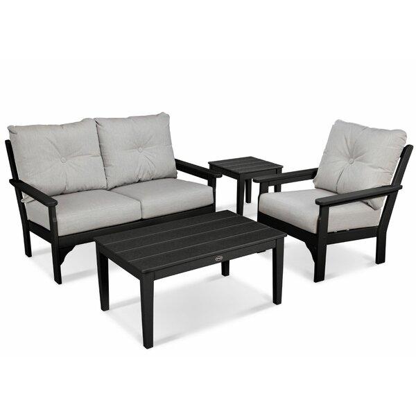 Vineyard 4 Piece Sunbrella Sofa Set with Cushions by POLYWOOD®