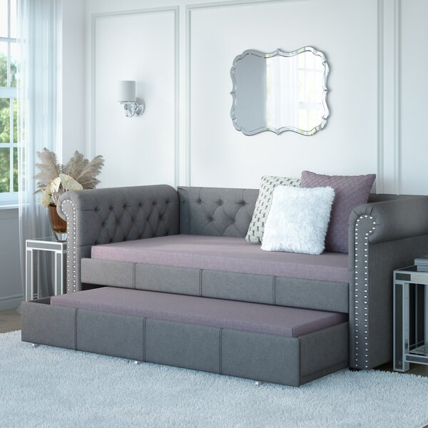 Mickel Modern And Contemporary Fabric Twin Daybed With Trundle