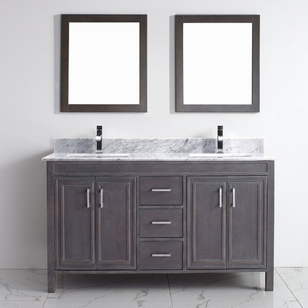 Coraline 60 Double Bathroom Vanity Set with Mirror by Bauhaus Bath