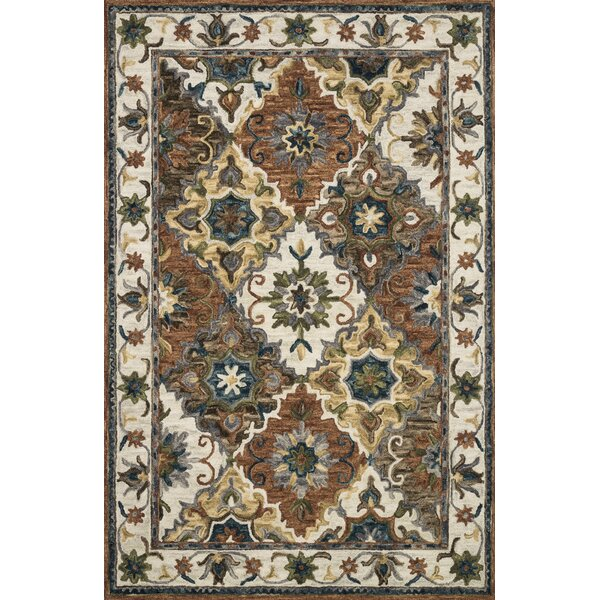 Watertown Hand-Hooked Wool Ivory Area Rug by Canora Grey