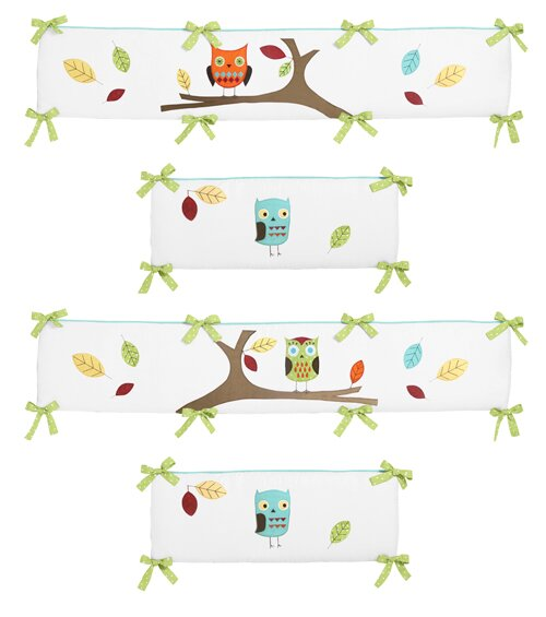 Turquoise and Hooty Crib Bumper by Sweet Jojo Designs