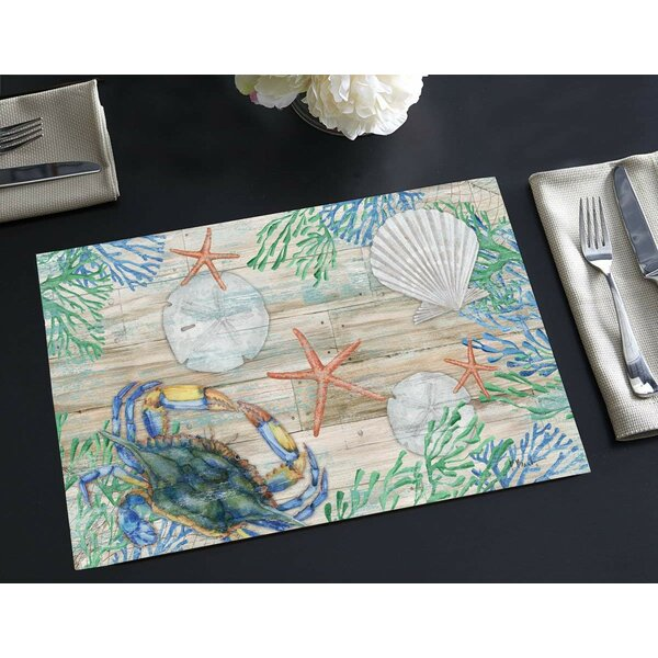 Emme Disposable Paper Clearwater Crab 18 Placemat (Set of 24) by Highland Dunes