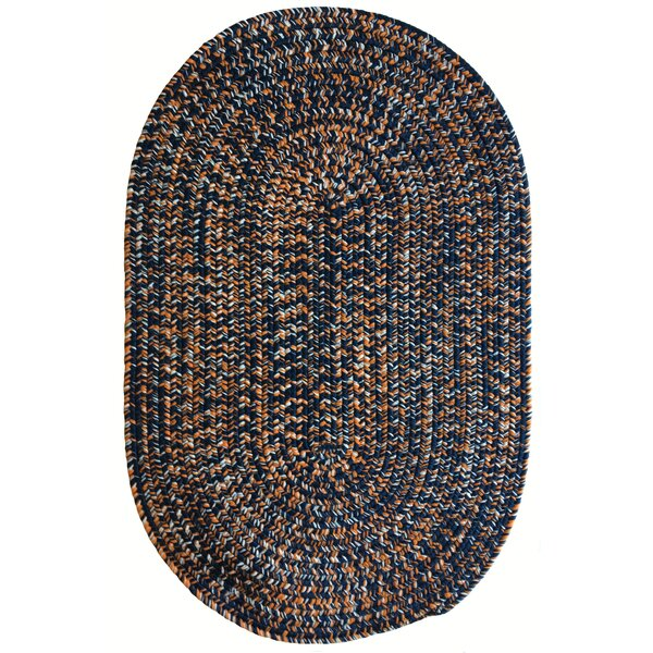 One-of-a-Kind Aukerman Hand-Braided Navy/Burnt Orange Indoor/Outdoor Area Rug by Isabelline