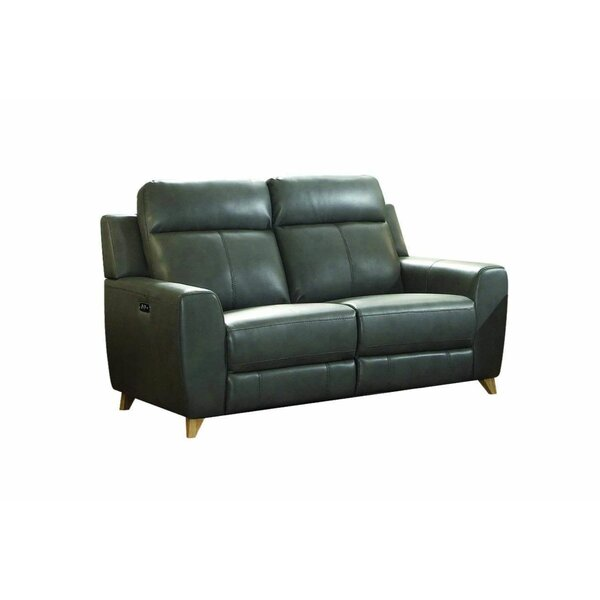 Gray Leather-Aire Power Reclining Loveseat By Latitude Run