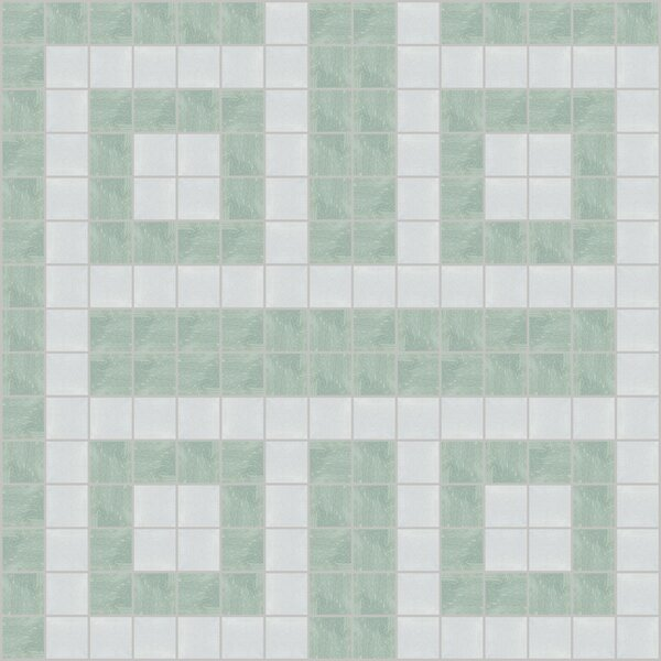 Urban Essentials Square Lattice 3/4 x 3/4 Glass Glossy Mosaic in Placid Turquoise by Mosaic Loft