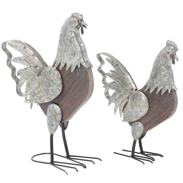 Dunellen Farmhouse Rooster 2 Piece Figurine Set by August Grove