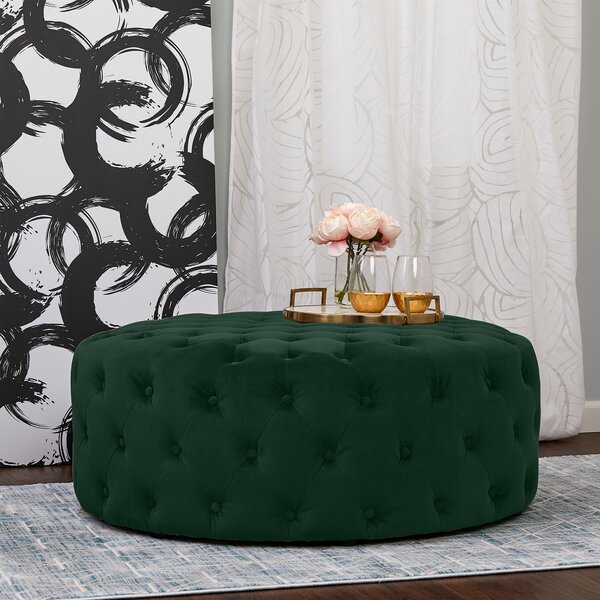 Spriggs Round Tufted Cocktail Ottoman by House of Hampton