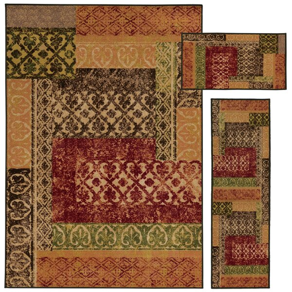Westview 3 Piece Beige/Multi Area Rug Set by Threadbind