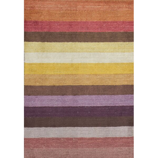 Indian Hand-Knotted Wool Yellow/Red Area Rug by Bokara Rug Co., Inc.