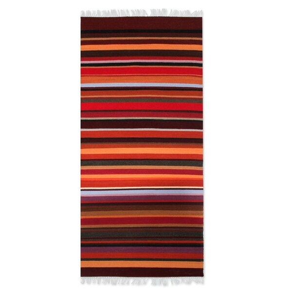 Highland Sunset Striped Area Rug by Novica