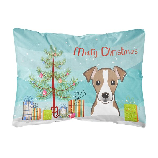Mabini Christmas Tree and Jack Russell Terrier Fabric Indoor/Outdoor Throw Pillow by The Holiday Aisle