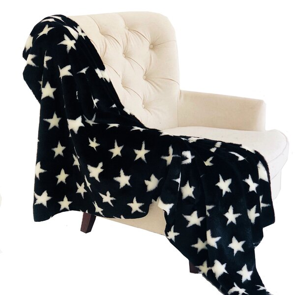 Corby Stars Soft Handmade Luxury Faux Fur Throw by Zoomie Kids