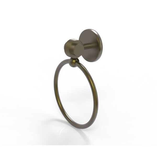 Satellite Orbit Two Wall Mounted Single Towel Ring with Groovy Detail by Allied Brass