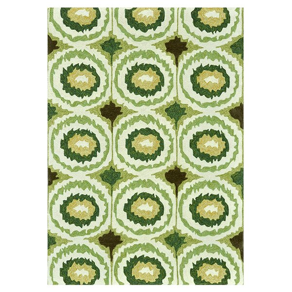Mosher Hand-Hooked Green Indoor/Outdoor Area Rug by Ebern Designs