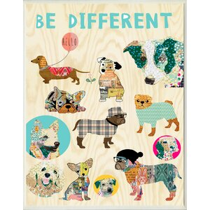 'Be Different Dogs' Graphic Art on Wood by Zipcode Design