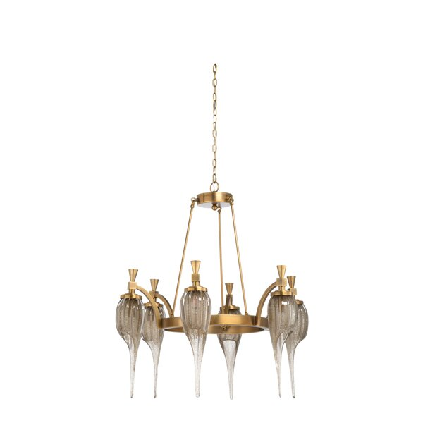Aiden 6-Light Shaded Wagon Wheel Chandelier By Wildwood