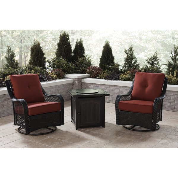 Innsbrook 3-Piece Fire Pit Chat Set in Autumn Berry with 2 Woven Swivel Gliders and a 26-In. Square Fire Pit Side Table by Alcott Hill