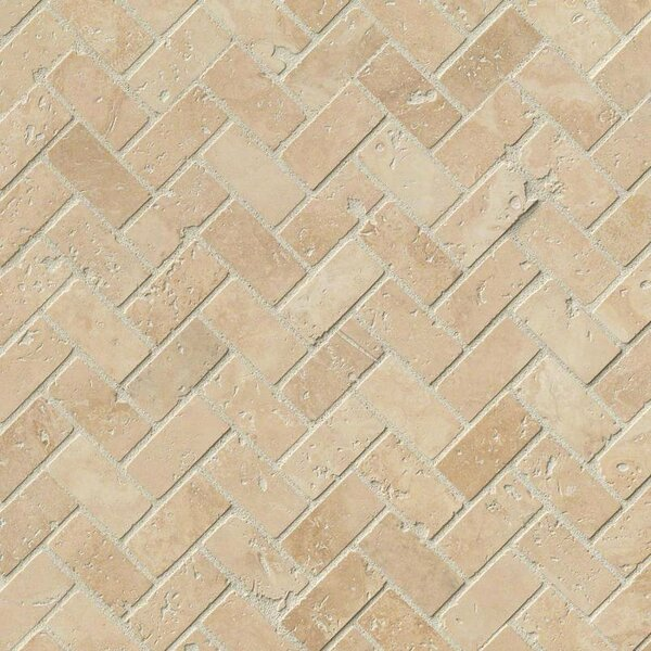 Tuscany Herringbone Honed Random Sized Travertine Tile in Beige by MSI
