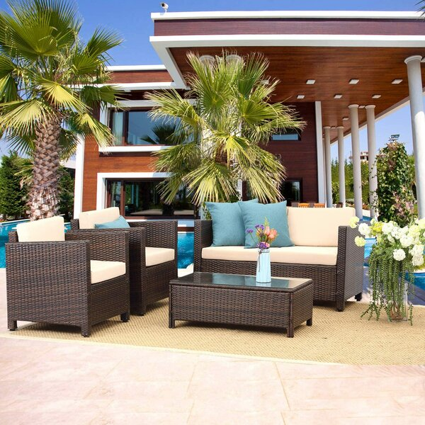 Pomroy Patio 5 Piece Rattan Sofa Seating Group with Cushions by Ebern Designs