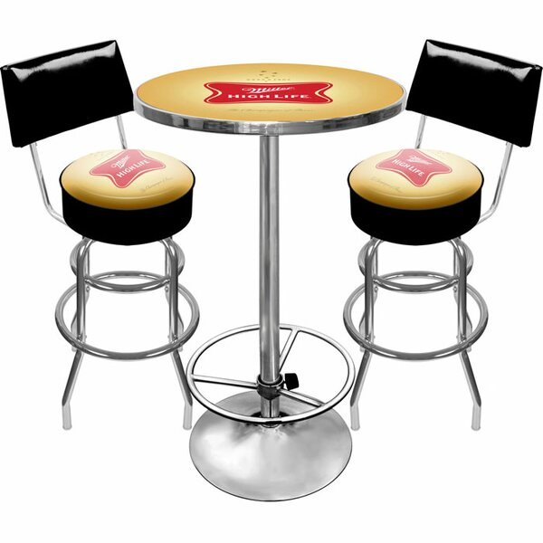 Ultimate Miller High Life 3 Piece Pub Table Set by Trademark Global