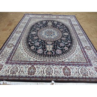 One-of-a-Kind Beane Fine Nain Hand-Knotted 7'10 x 10'1 Wool Navy Blue Area Rug by Isabelline