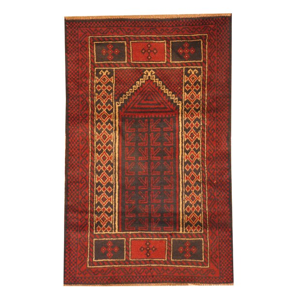 Prentice Hand Knotted Wool Red/Navy Area Rug by Isabelline