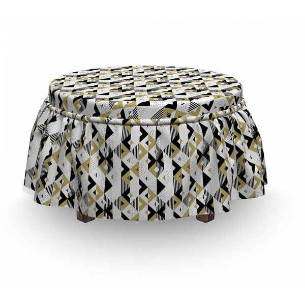 Triangles And Stripes Ottoman Slipcover (Set Of 2) By East Urban Home
