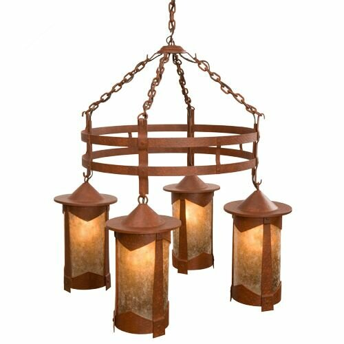 Ber 4 - Light Shaded Wagon Wheel Chandelier by Loon Peak Loon Peak