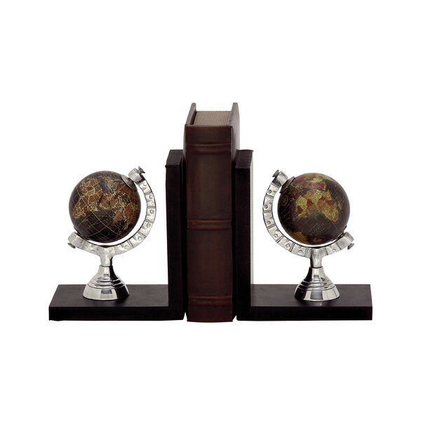 Wood/Aluminum Globe Book Ends by Cole & Grey