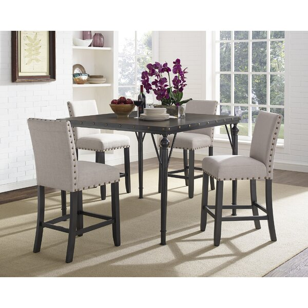 Haysi Wood Counter Height 5 Piece Dining Set with Fabric Nailhead Chairs by Greyleigh