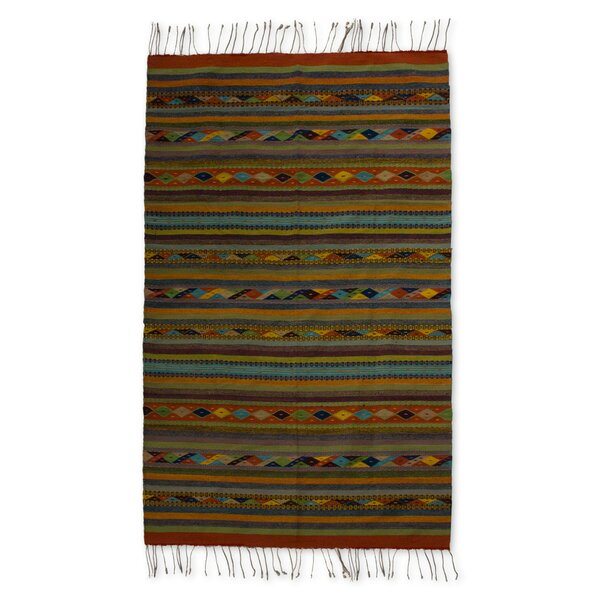 Weare Hand-Woven Green / Blue Area Rug by Millwood Pines