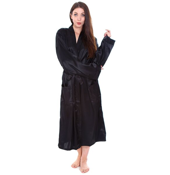 Gace Long Satin Kimono Style Spa Bathrobe by The T