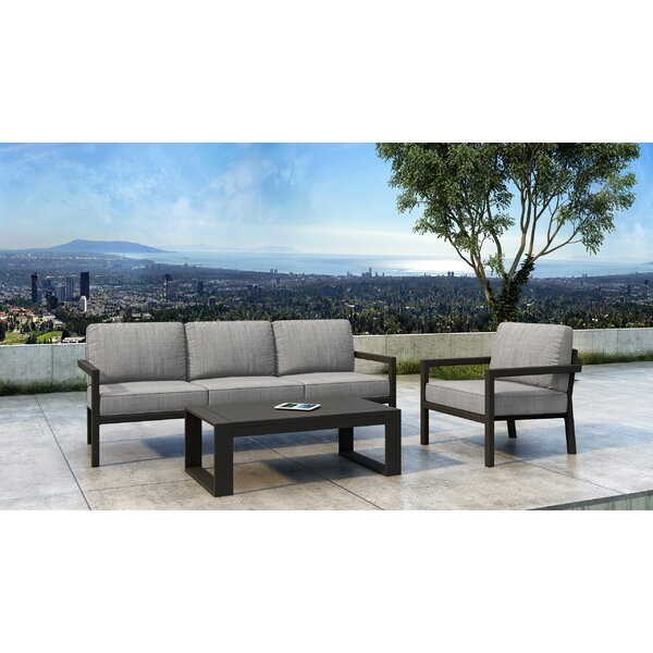 Iliana 3 Piece Deep Seating Group with Sunbrella Cushions (Set of 3) by 17 Stories