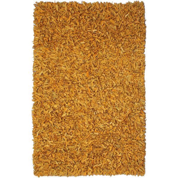 Baum Leather Gold Area Rug by Ebern Designs