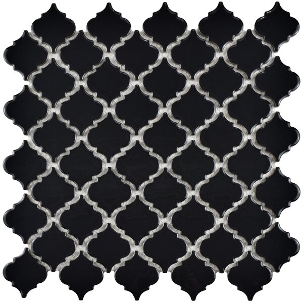 Pharsalia 12.38 x 12.5 Porcelain Mosaic Floor and Wall Tile in Glossy Black by EliteTile