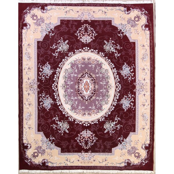 Koa Soft Plush Floral Traditional Tabriz Persian Beige/Burgundy Area Rug by Isabelline
