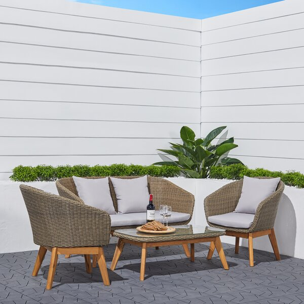 Castanada Rustic All-Weather Patio 4 Piece Sofa Seating Group with Cushions by Latitude Run