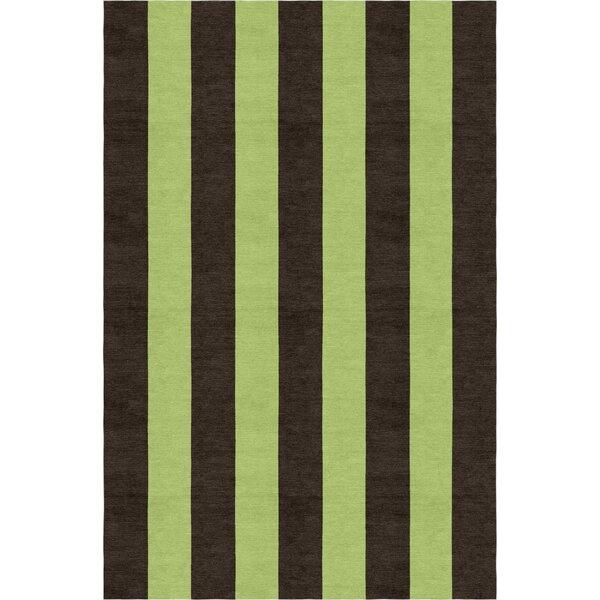 Lefker Stripe Hand-Woven Wool Brown/Green Area Rug by Red Barrel Studio