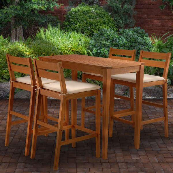 Channing 5 Piece Bar Height Dining Set With Cushions By Union Rustic by Union Rustic #1