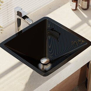 Bargain Glass Square Vessel Bathroom Sink with Faucet By René By Elkay