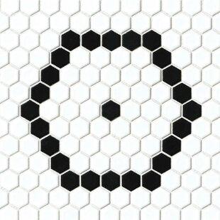 black and white tile floor.  Tile Hex 1 In Black And White Tile Floor