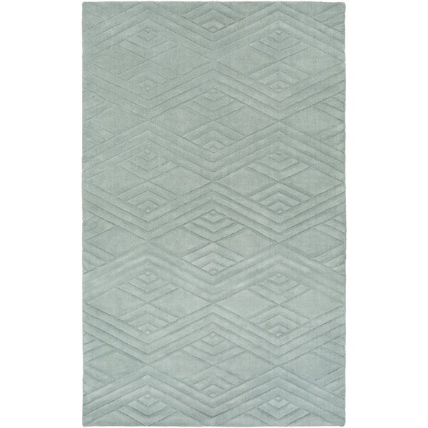 Adrienne Geometric Handwoven Wool Sage Area Rug by Mercer41