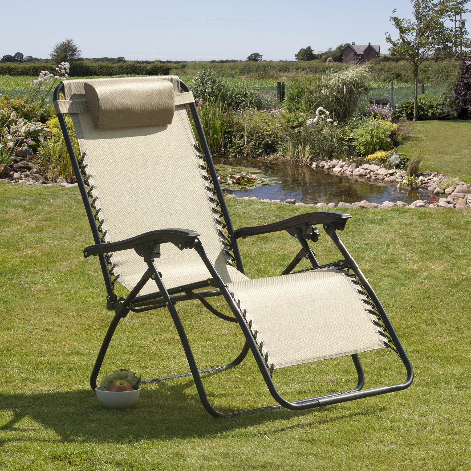 Zero Gravity Deluxe relaxation chaise noir et oreiller résistant aux intempéries