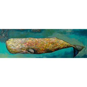 'Whale in Seafoam' Print on Wrapped Canvas by Mercury Row