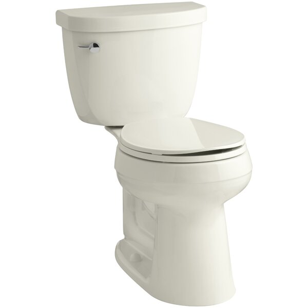 Cimarron Comfort Height Two-Piece Round-Front 1.6 GPF Toilet with Aquapiston Flush Technology and Left-Hand Trip Lever by Kohler