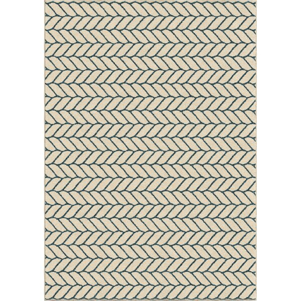 Portwood Rope Admiral Ivory Indoor/Outdoor Area Rug by Beachcrest Home